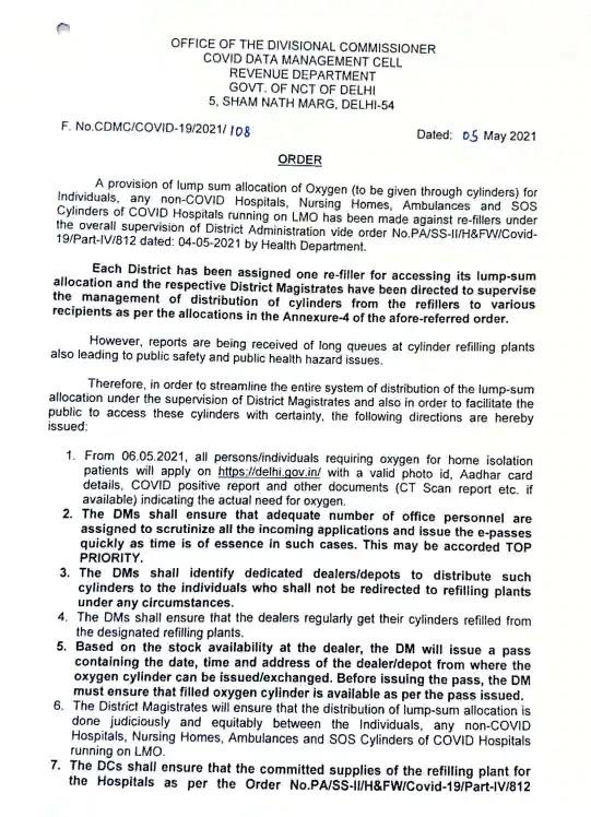 delhi govt. oxygen cylinder order