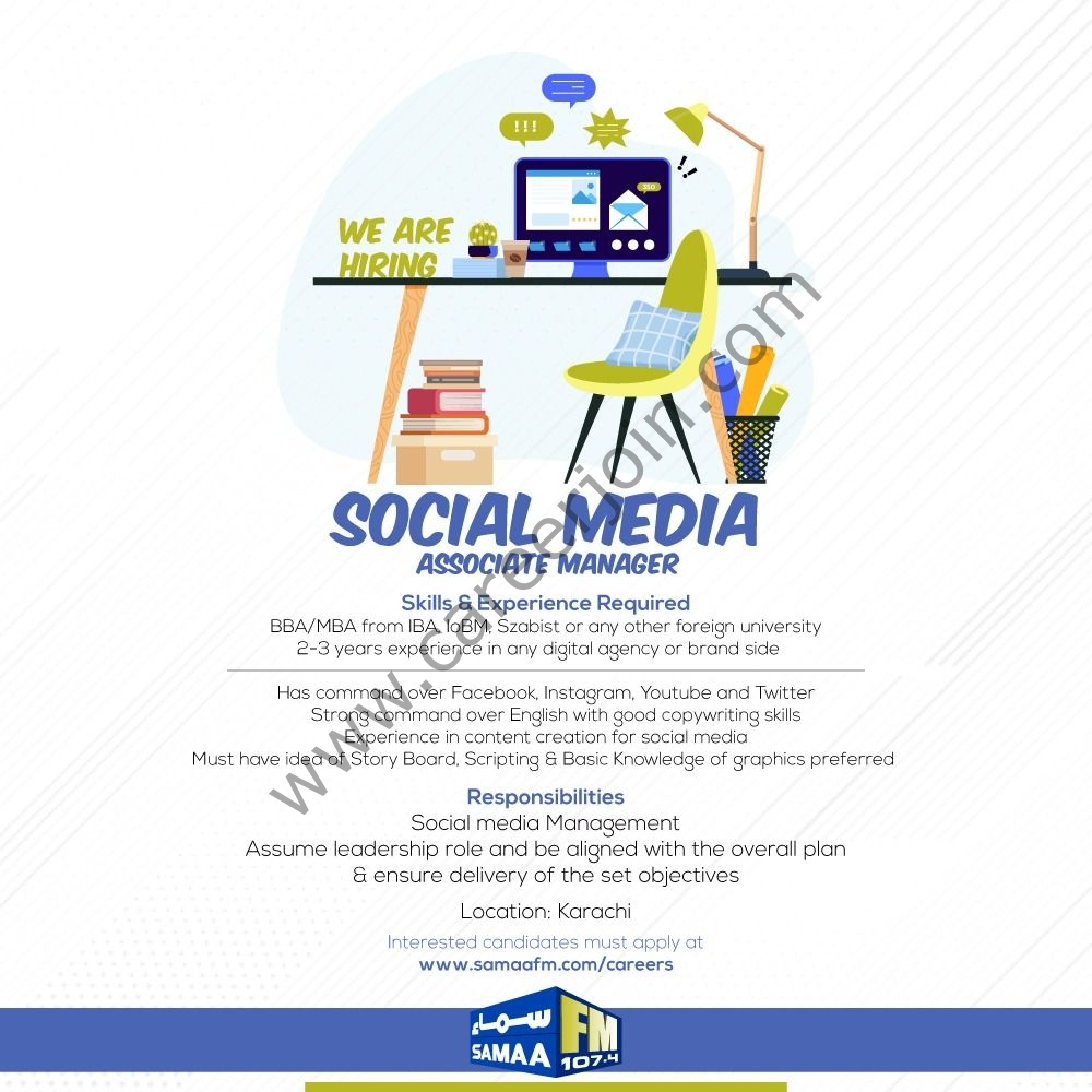 www.samaafm.com-careers - Samaa FM Jobs in Pakistan 2021 For Video Editor and Social Media Associate Manager