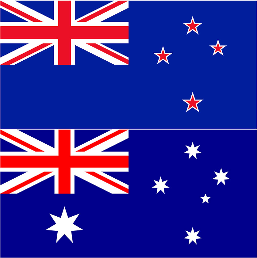 New Zealand flag (top) and Australian flag (bottom) - similar but different.