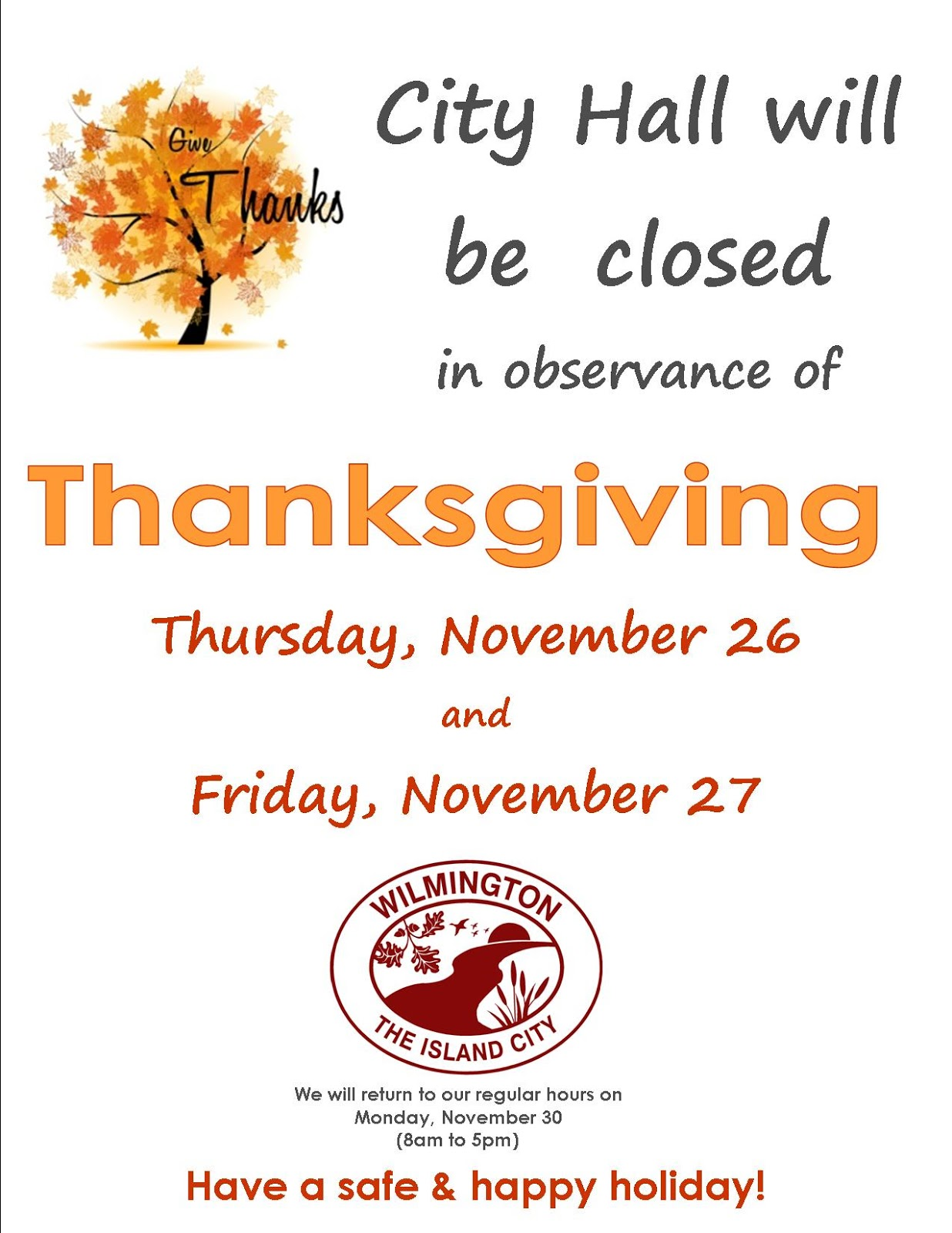 Office Closed For Thanksgiving Sign Template