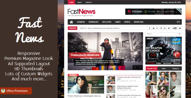 FastNews - Magazine Blogger Template