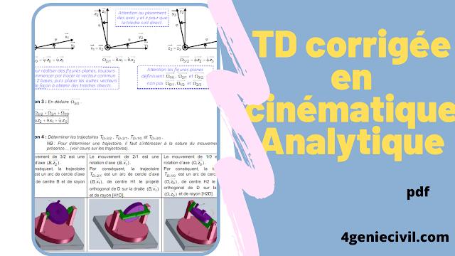 TD avec solution en cinématique Analytique