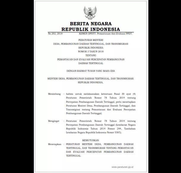 Permendesa PDTT Nomor 3 Tahun 2018 Tentang Pemantauan dan Evaluasi Percepatan Pembangunan Daerah Tertinggal