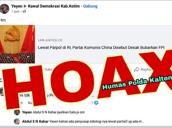 Unggah Link Berita Partai Komunis China Desak FPI Bubar, Ardian Ditangkap