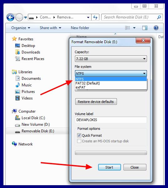 format disk NTFS