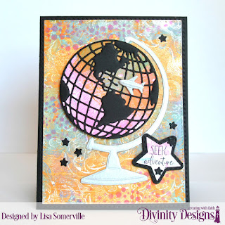 Stamp Set: Adventure Awaits  Custom Dies: Globe & Stand, Double Stitched Rectangles, Sunburst Background, Sparkling Stars, Double Stitched Stars, Circles, USA Map  Mixed Media Stencils: Bubbles, Flourishes