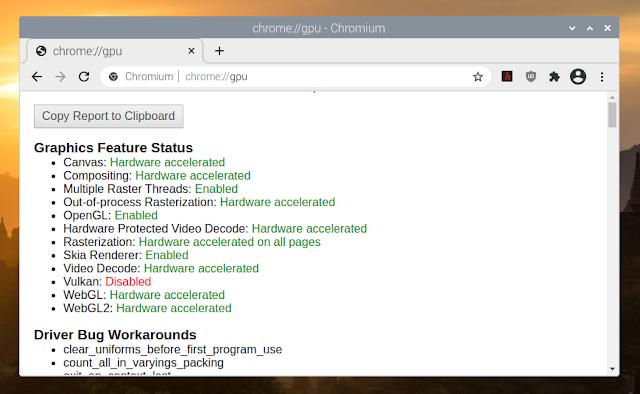 Raspberry Pi hardware acceleration Chromium