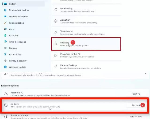 حذف ويندوز 11 و إسترجاع ويندوز 10