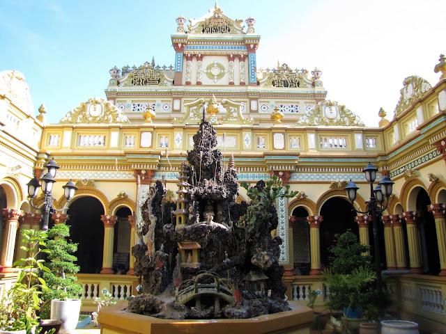 inside vinh trang pagoda mekong delta vietnam
