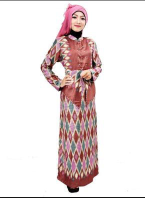 Model Baju Gamis Batik Songket Modern Terbaru