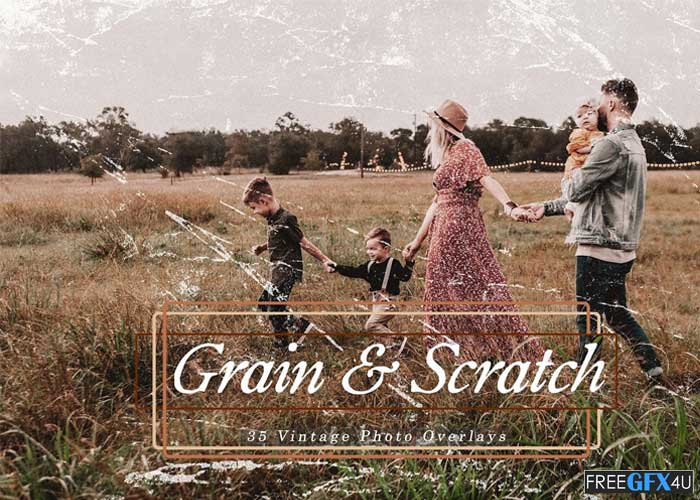 Vintage Grain and Scratch Photo Overlays