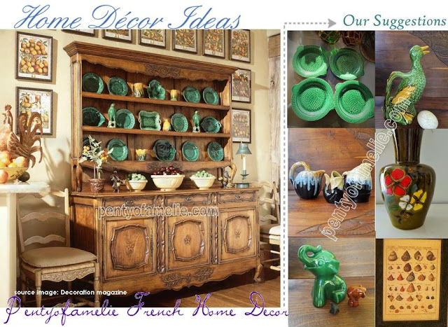 Antique French Potteries in Green Emerald. Sarreguemines Fish plates, St Clement Elephant Moneybox, Large colorful Flowers motif Vase, Barbotine Drip Glaze majolica Duck Pouring Jug. Framed Seashells Illustrations for Decorating your walls.