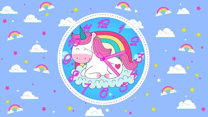 Animated Unicorn Windows Clock Screensaver