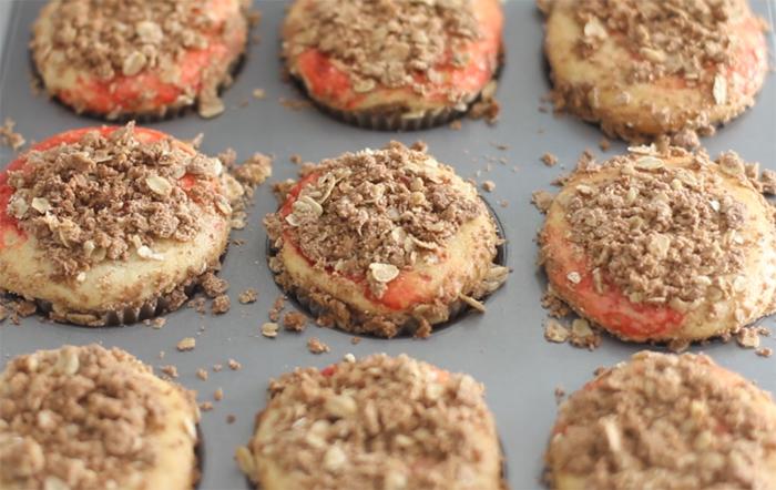 Strawberry Jam Muffins with Cinnamon Oat Streusel