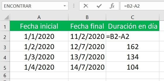 Cómo restar fechas en Excel