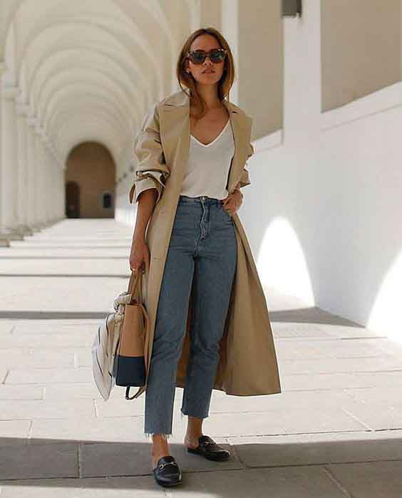 mom jeans e trench coat