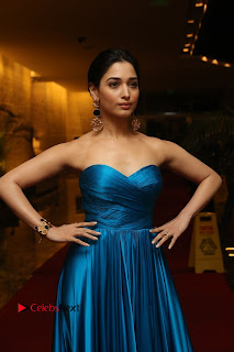 Tamannaah Pictures in Blue Long Dress at Abhinetri Audio Launch ~ Celebs Next