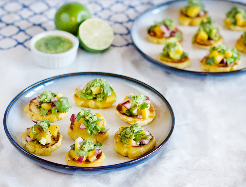 Plantain Tostones with Mango Salsa and Cilantro Chimichurri | Obsessive Cooking Disorder