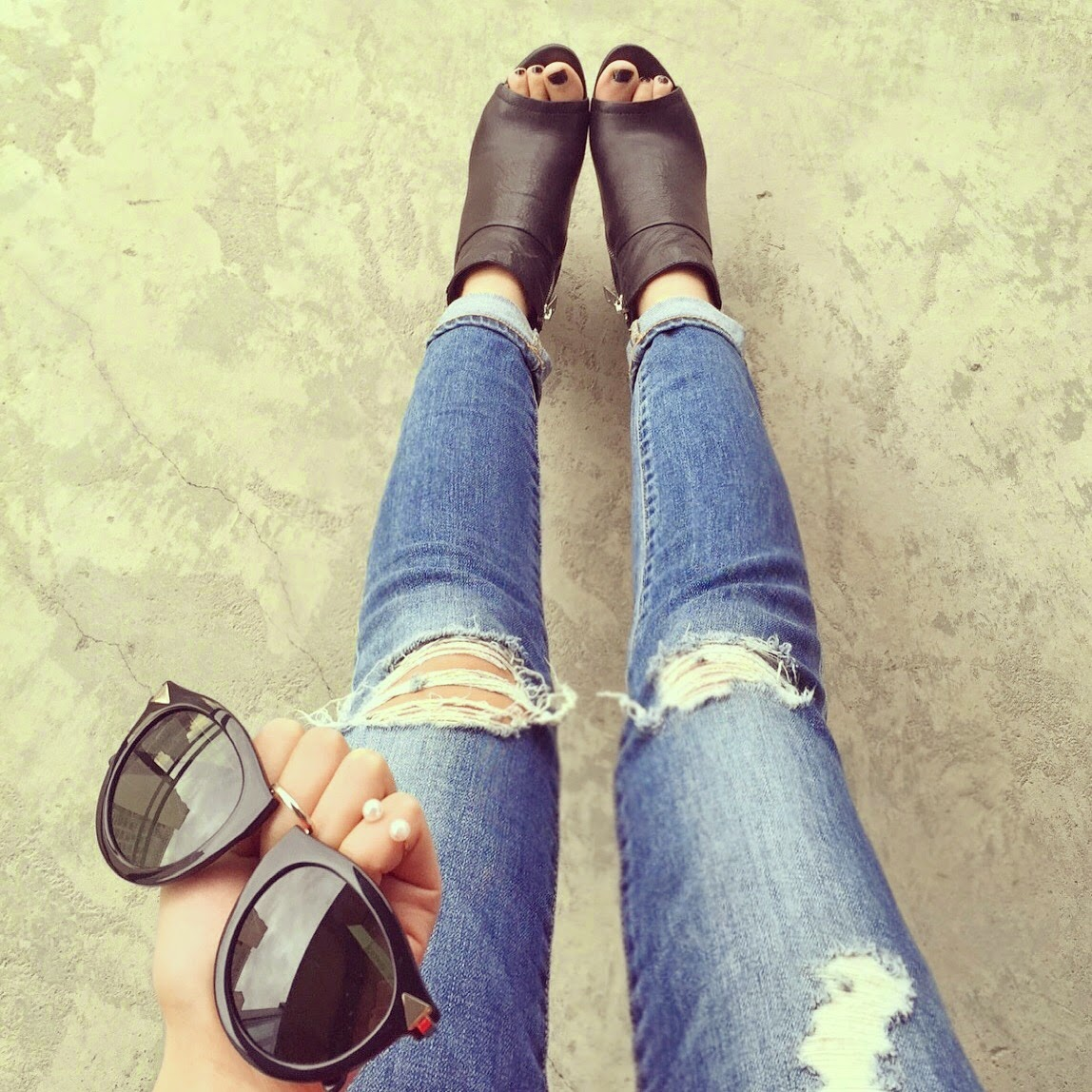 Dolce vita leka booties, peep toe bootie, dolce vita babe, karen walker harvest sunglasses, pearl ring, AG jeans, distressed jeans, ripped denim, fashion blog, from where i stand