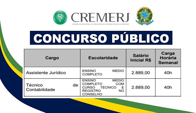 CremeRJ tem inscrições reabertas para seleção de candidatos com ensino médio! R$ 2.889,00