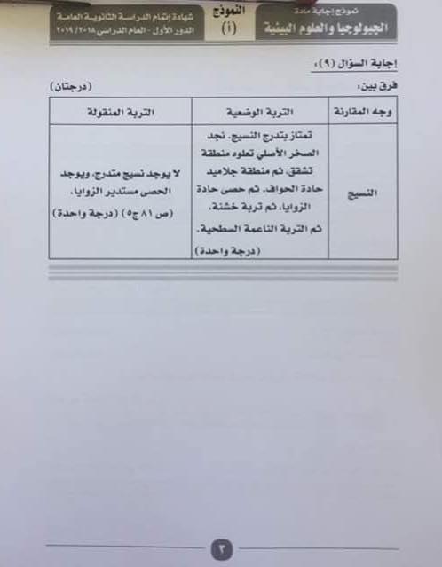 نموذج الإجابة الرسمى لإمتحان الجيولوجيا والعلوم البيئية للثانوية العامة ٢٠١٩ بتوزيع الدرجات 3