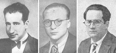Los ajedrecistas Rafael Doménech, Rafael Lloréns y Július Sunyer