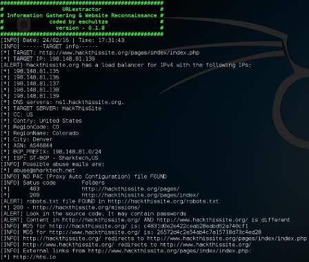 URLextractor : Information Gathering & Website Reconnaissance