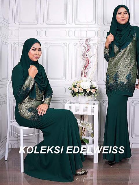 Baju Kurung Moden Songket Koleksi Raya 2017  warna Emerald Green