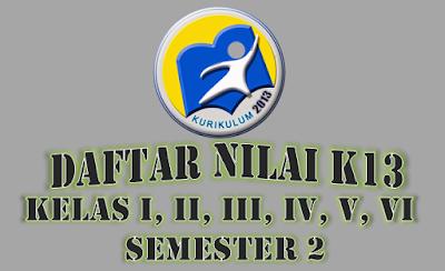 Daftar Nilai Semester 2 Kurikulum 2013 Kelas I, II, III, IV, V, dan VI SD Edisi Revisi 2018
