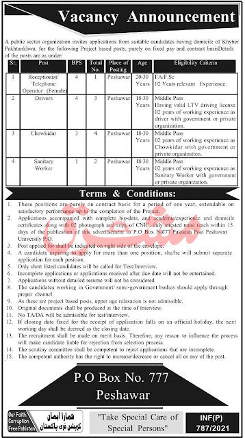 PO Box 777 Peshawar Jobs 2021 Staff Nurses & Others Public Sector Organization Latest