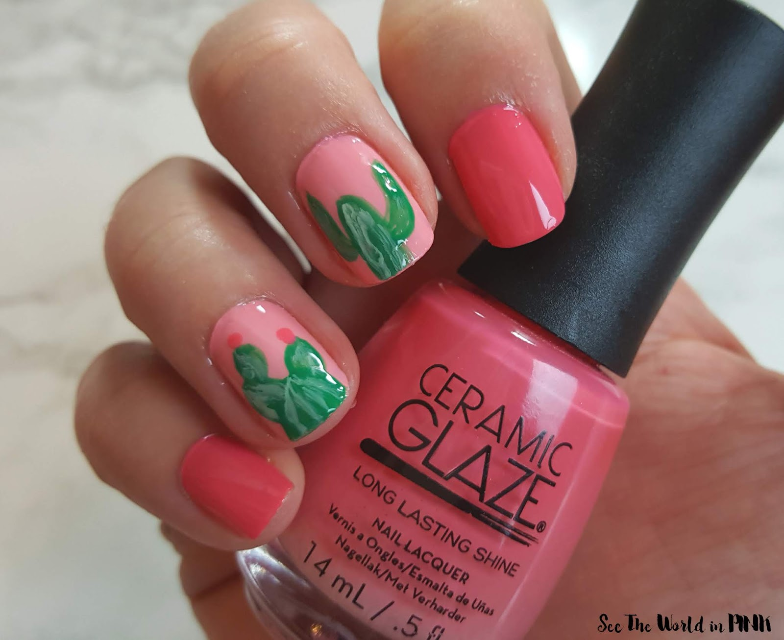 Manicure Monday - Coral Cactus Nails!