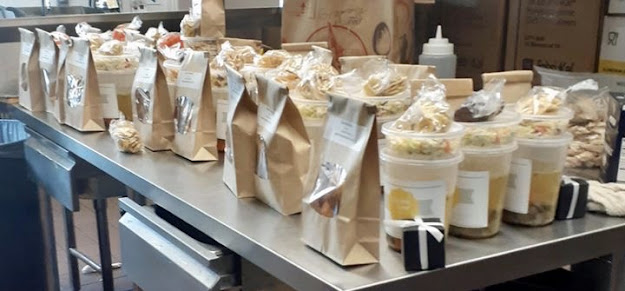 Shabbos food packages awaiting delivery at Chabad at La Costa