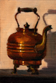 Oil painting of an antique copper kettle with a handle and brass spout.