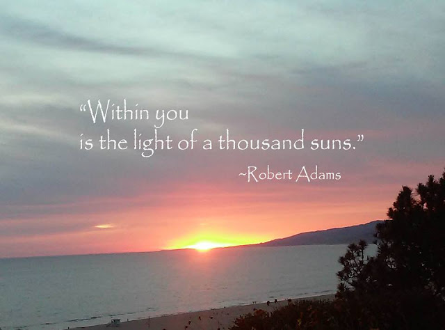 sunset over the Pacific, with Robert Adams quote: within you is the light-of-a-thousand-suns-quote-via-blog-beau-monde