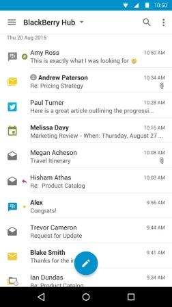 Contoh Tampilan Aplikasi Blackberry Hub+