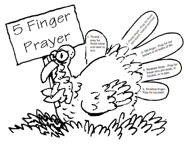 Five Finger Prayer Sketch Coloring Page