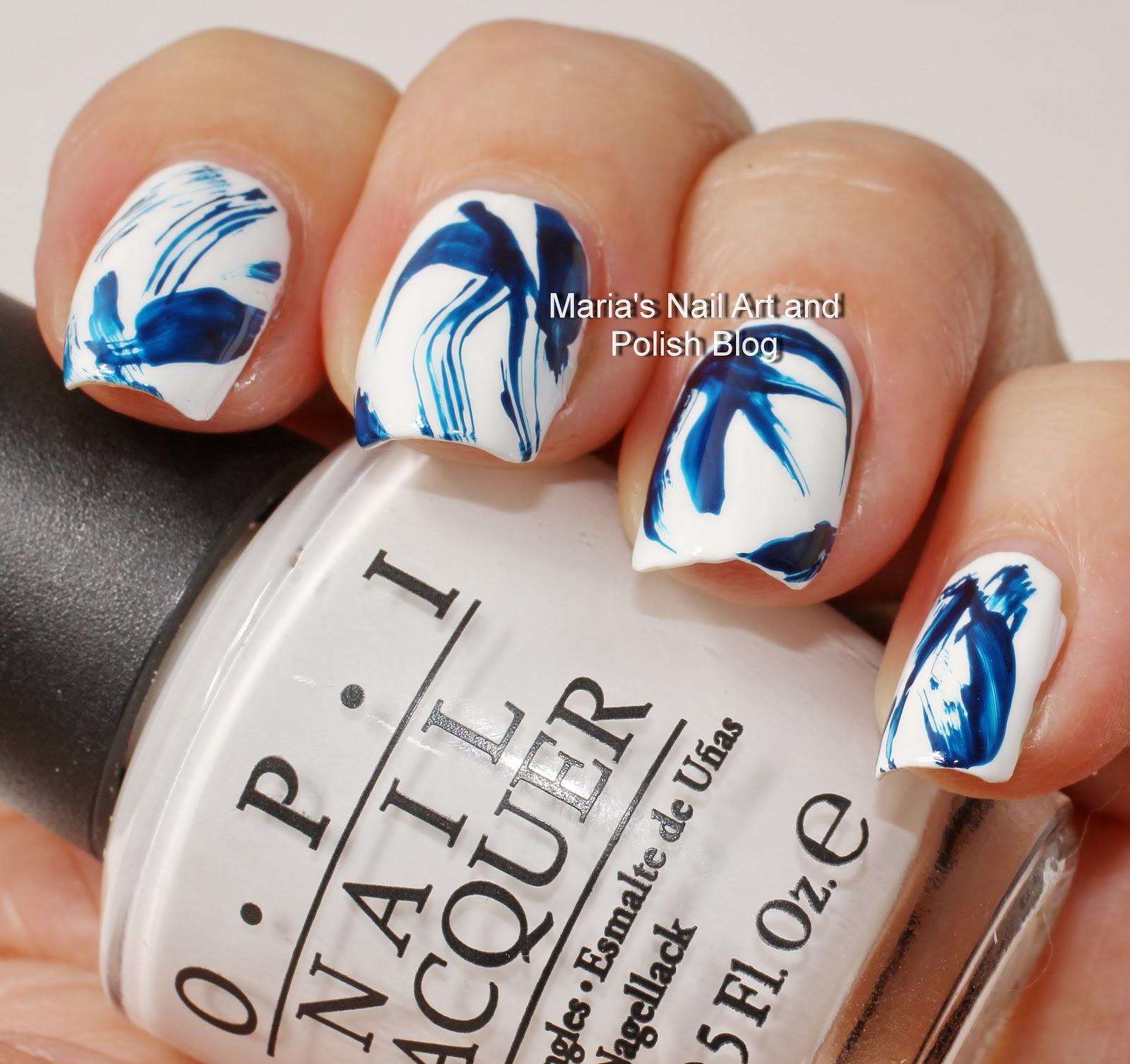 Marias Nail Art And Polish Blog Blue And White Brush Stroke Nail Art