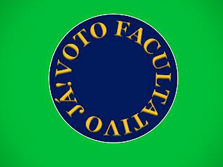 A imagem nas cores do Brasil diz: voto facultativo ja!