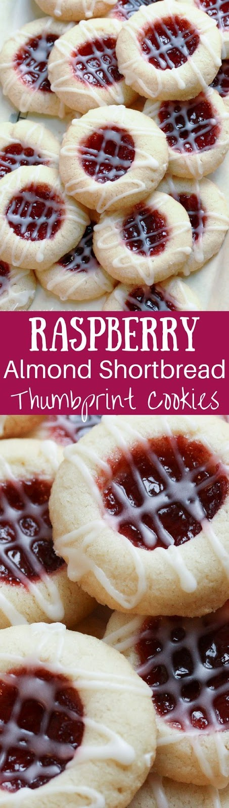 Raspberry Almond Shortbread Thumbprints Cookies