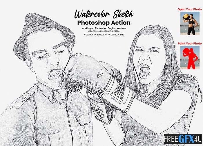Watercolor Sketch Photoshop Action