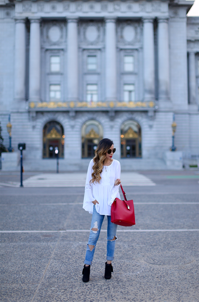 Charming charlie white blouse, charming charlie style watch capsule collection for fall, charming charlie fall collection, charming charlie RILEE LOCK BAG IN BAG, chloe sunglasses, blank denim jeans, charming charlie tassel booties, fall fashion, san francisco street style
