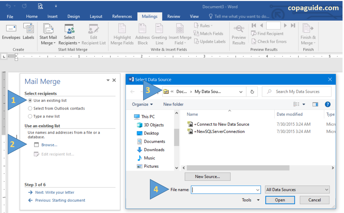Mail Merge Wizard Use an existing list in MS-Word Hindi Notes