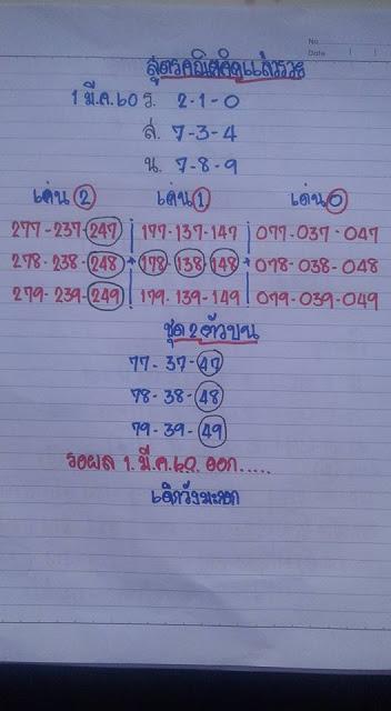 เลขเด่น  2  1  0  จับคู่สองตัวบน  77  37  47  78  38  48  79  39  49