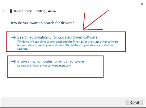 search automatically for driver windows