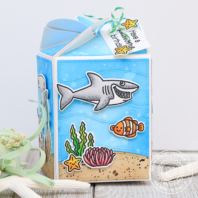 Happy Birthday Wrap Around Gift Box by Juliana Michaels featuring Sunny Studio Stamps Wrap Around Box Dies, Catch A Wave Dies, Woodland Border Dies,Best Fishes Stamps and Oceans of Joy Stamps,