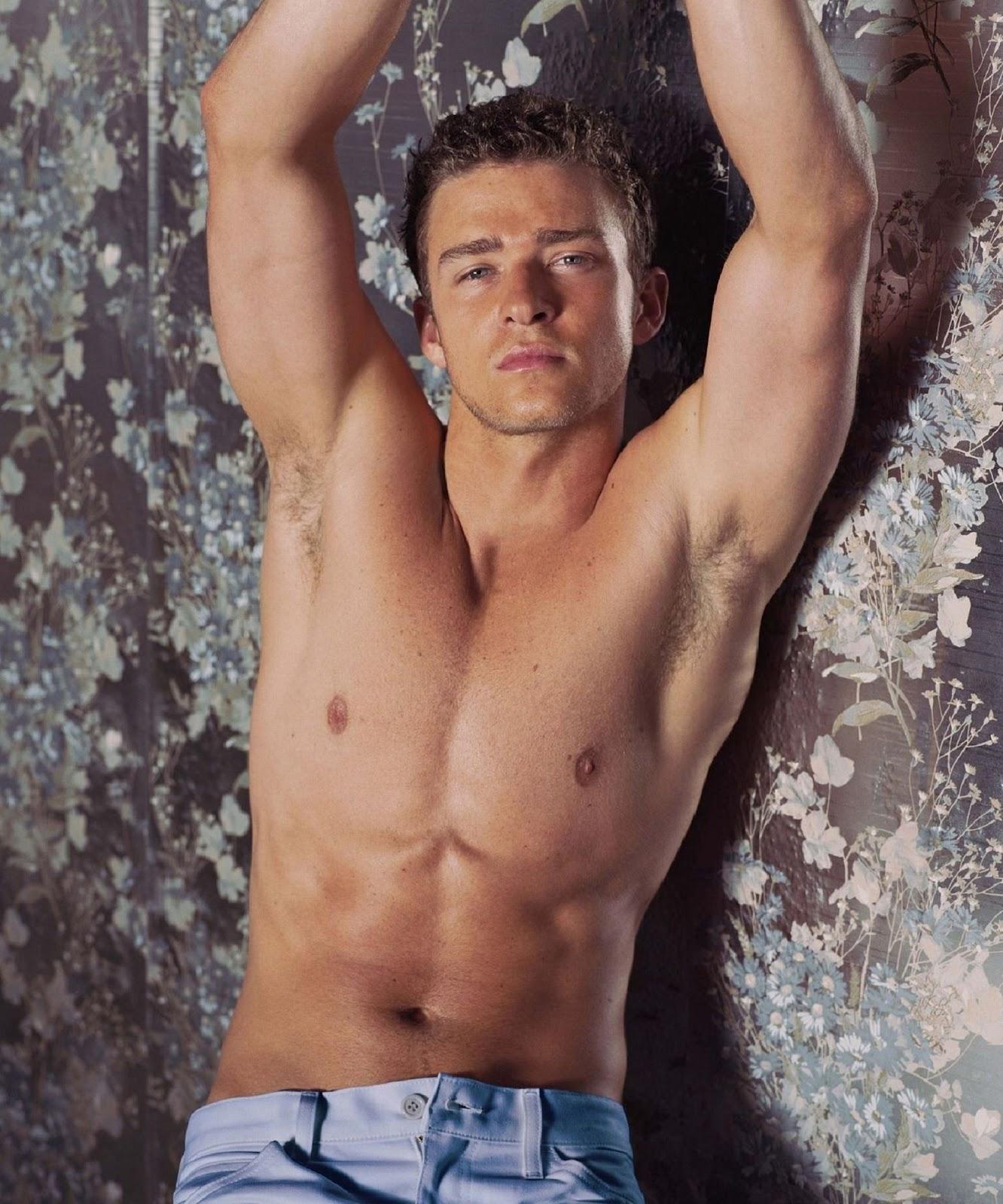 Hot Handsome Justin Timberlake, Posing Shirtless, Wearing