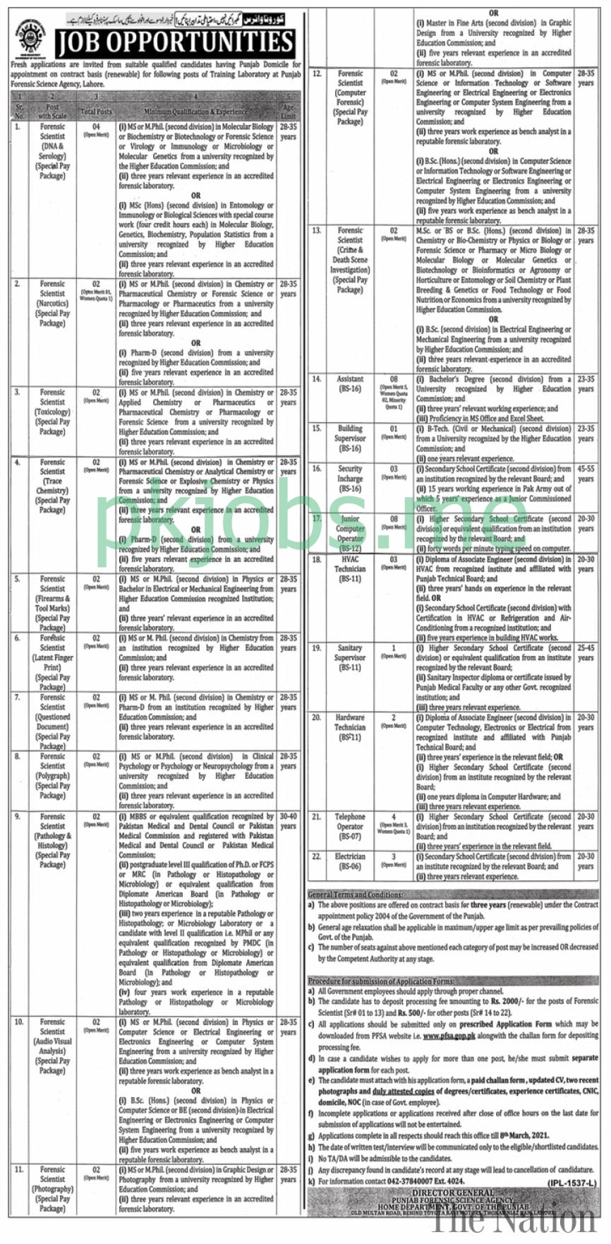 Latest Punjab Forensic Science Agency Posts 2021