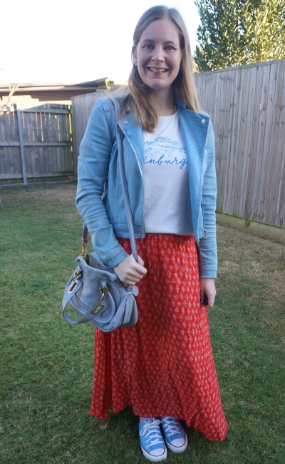 denim jacket, graphic tee, red printed maxi skirt, blue converse, small paraty bag | away from blue
