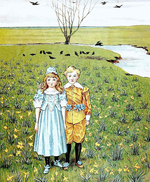 a Walter Crane children's book illustration 1880s, two English Victorian children standing in a field with crows