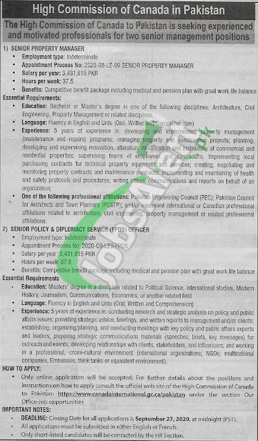 canadian-high-commission-islamabad-jobs-2020-apply-online